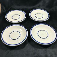 Set of 4 Vintage REGO Restaurant Ware Blue Stripe Saucers