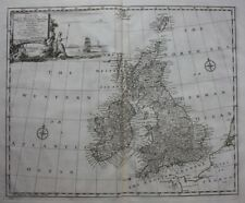 Original antique map BRITISH ISLES, GREAT BRITAIN & IRELAND, E. Bowen, 1747