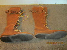 PAIR OF WESTERN, FRINGED, SUEDE LEATHER BOOTS