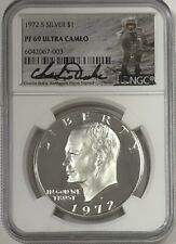 1972 S Eisenhower Ike Silver Dollar NGC PF69 Ultra Cameo Charlie Duke Signed