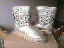 Women's UGG FLORA short boots booties gold metallic flower star Sz 5 or 6 NIB