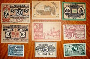 Lot of 9 Austrian/German Notgeld 1919-21