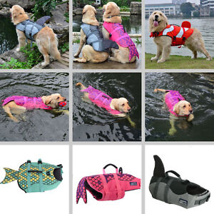 Pet Dog Life Jacket Shark Mermaid Large Float Coat Lifesaver Safety Vest S - L