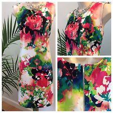 WORTHINGTON Dress Sleeveless Back Zip Sz Large Bright! Party Wedding Cruise  #z