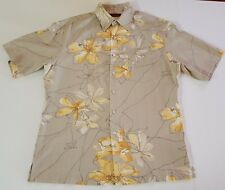 Tori Richard Medium Silk Hawaiian Shirt Button Up Collar Short Sleeve Tan Yellow