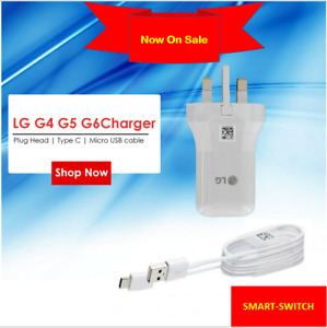 100% Genuine LG G5 G6 G4 Fast Wall Charger Plug Head & Type C & Micro Usb Cable