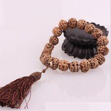 "Huge Tassel Big 19 Old Raw Dragon Eye Bodhi Seed Prayer Beads Mala Rosary -9"""