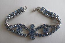 "Vintage  La-Rel Silver Tone Sky Blue Rhinestone Link Bracelet 7.25"" long"