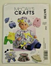 """McCall's 4736 baby doll clothes sewing pattern 2 sizes 11-13"""" & 14-16"""" UNCUT NEW"""