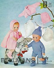 """KNITTING PATTERN VINTAGE BABY DOLLS CLOTHES 10 ITEMS TO MAKE 16"""" 18"""" 20"""""""