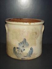 Antique 2 Gallon Stoneware Crock Blue Cobalt Flower