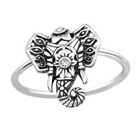 Ladies 925 Sterling Silver Crystal Elephant Ring UK Seller - Fast Postage Boxed