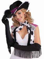 Fringe Black satin long gloves costume Burlesque cowgirl pinup flapper 66272