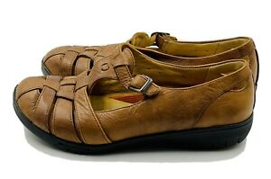 CLARKS Structured  Loafer 7.5 W Brown Leather  Womens Shoes
