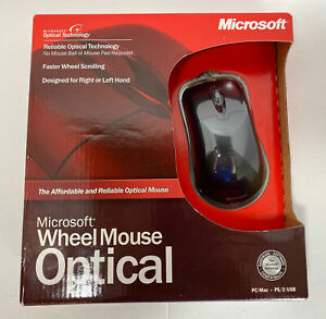 Microsoft Optical 3-Button PS/2 USB Wheel Mouse Model D66-00069 Black NEW SEALED