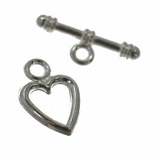 10 Silver Plated Heart Metal Toggle Clasps 14mm Jewellery Findings