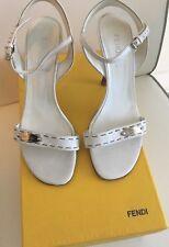 Fendi Women's Sandal Shoes Heels White Leather Authentic Size Italy 36.5 US 6.5