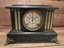 Vintage Antique Seth Thomas Mantle Clock Case Black Gold With Key!