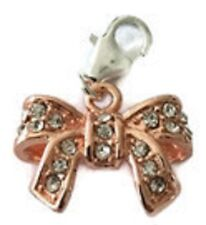 LOVELY ROSE GOLD BOW WITH CLEAR RHINESTONES CLIP ON CHARM- 925 S/P - 3D -NEW