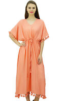 Bimba Women Designer Tassel Kaftan Dress Short Kimono Sleeve Long Maxi Coverup G