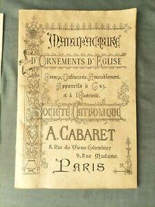 ANCIEN CATALOGUE DE MANUFACTURE D'ORNEMENTS D'EGLISE BRONZE ORFEVRERIE A.CABARET