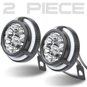 2X LED White Motorcycle Mirrors 10mm Headlight Angel Eye Spot Light Driving Lamp