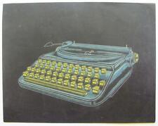 ORIGINAL MID CENTURY MODERN ILLUSTRATION ART TYPEWRITER LOEWY STYLE CHALK PASTEL