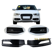 2x Front L+ R Bumper Lower Fog Light Lamp Grill For AUDI A4 S-Line S4 13-15 Only
