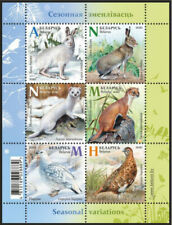 Belarus 2020 Seasonal variations wild animals: hare, weasel, partridge Sheet