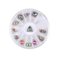 21 Styles Crystal Gems Rhinestones Tear Drop 3D Nail Art Decoration Tips Wheel