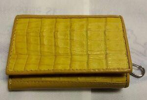 Keychains Keyrings Bags Crocodile Alligator Skin Leather Yellow Men's Wallets