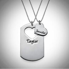 Couple Necklace Name Tag 2 Piece CUSTOM ENGRAVED Gift STERLING SILVER Love