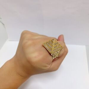 Iced Out Pyramid Ring Durable For Boys Gents - Available All Size