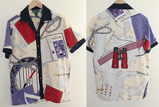 Vintage 90s - Ralph Lauren Silk Yachting Graphic Scarf Print Shirt Top -Sz S