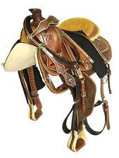 """Thsl"" Western Roping Saddle Set - Hand Carved Rh Lacing Oil Brown 18"" (1045Ob)"