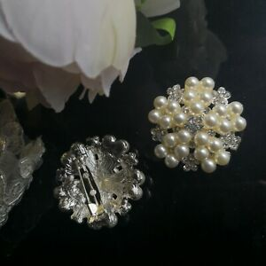 Diamante Brooch With Pearl Ivory  40mm Dia