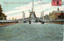NEW YORK CONEY ISLAND - SHOOT THE CHUTES & LAKE DREAMLAND 1908 POSTCARD