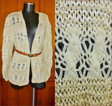 VTG 70s 80s Gold Metallic Lace Ivory Open Hand Knit Front Boho Sweater Cardigan