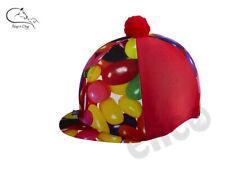 Elico Jelly Bean Print Pom Pom Lycra Riding Hat Cover Silk Horse Pony FREE P&P