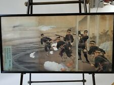 Original, old Japanese woodblock triptych. Soldiers charging at red cross train