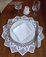 BONBONNIERE DE TABLE  ETDESSOUS D'ASSIETTE ASSORTI CROCHET MAIN S RAISONNIER