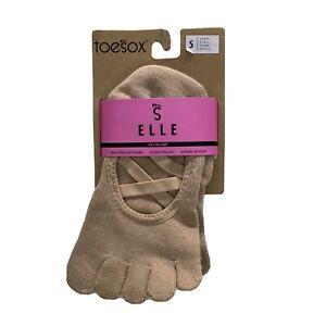 Toesox Elle Full Toe Grip Criss Cross Socks Barre Pilates Yoga Dance Small Nude
