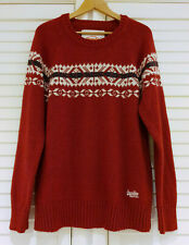 Mens XL SUPERDRY Jumper Vintage 80s Style Nordic Knit Fairisle Jumper Knitted