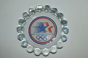 Vintage 1984 Los Angeles Olympics Cigar Ashtray Glass 7.5 Inches Wide RARE HTF