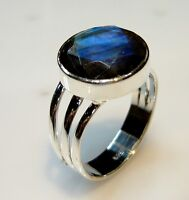 925 STERLING SOLID SILVER 5 GMS CLASSIC RING SIZE 8 LABRADORITE NATURAL GEMSTONE