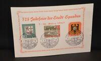 """FDC """"725 Jahrfeier der Stadt Spandau"""" Berlin Nr. 159 +Berlin 136 + Bund 249"""