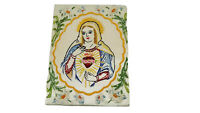Vintage Religious Immaculate Heart Of Mary Hand Embroidered Artwork O5
