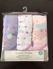 Koala Baby 3 Pack Baby Girls Hooded Bath Towels Pink Purple