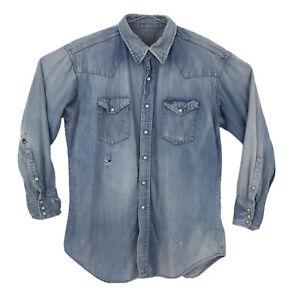 "Vintage Wrangler Blue Denim Distressed Pearl Snap Button Up Shirt Mens 48"" Chest"