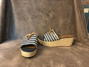 Women's Sperry TopSider Blue and White Stripe Nautical Wedge Heel Sandals Sz 10